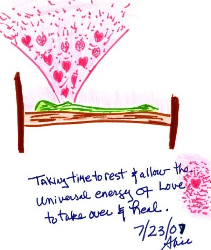 Taking the time to rest and allow the universal energy of love to take over and heal.  By Alice McCall